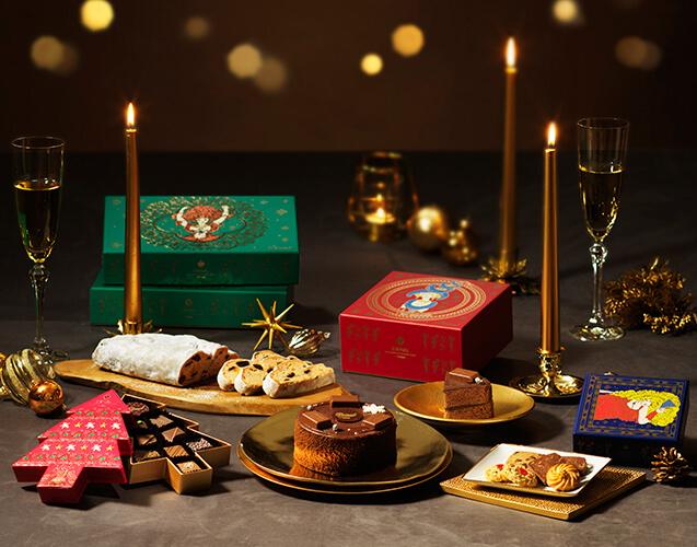 クリスマス限定商品お菓子、ケーキの写真