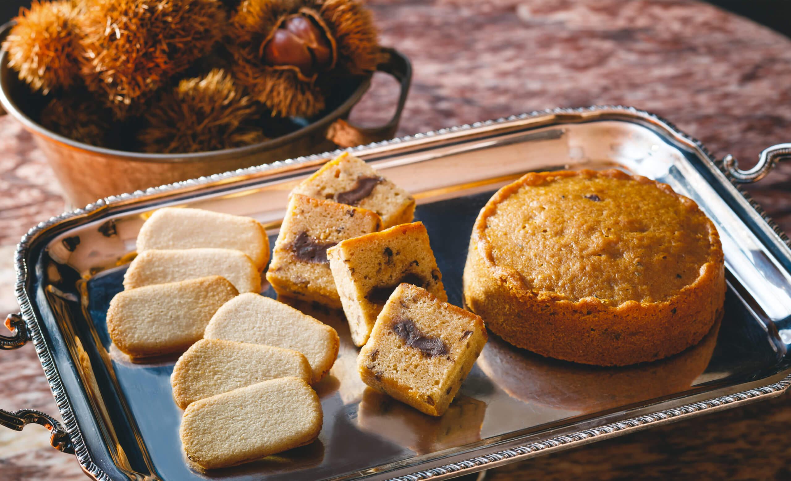 秋限定商品お菓子、ケーキの写真